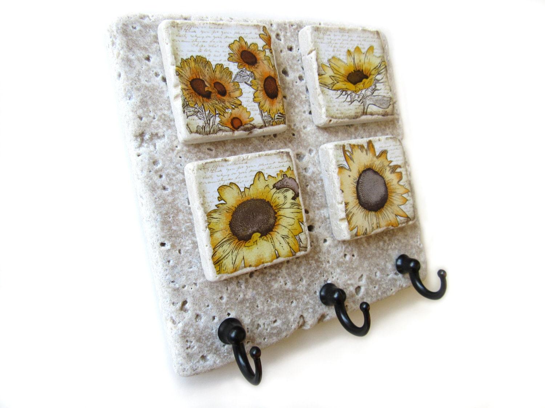 sunflower key hook decorative hooks for keys wall key. Black Bedroom Furniture Sets. Home Design Ideas