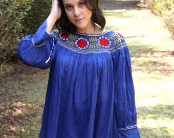 Turquoise  hand embroidered peasant blouse