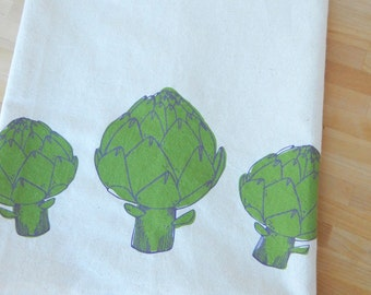 Kitchen Towel, Hand Printed, Artichokes, Natural Cotton