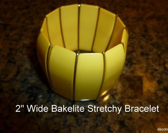 Vintage Extra Wide Bakelite Stretchy Bracelet.  Two Inch Wide Yellow Bakelite Tab Bracelet. Tested, Authentic Vintage Bakelite, USA 1940s.
