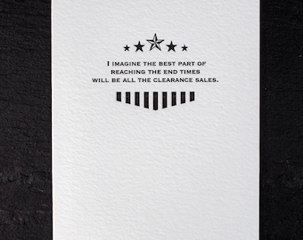 end times. letterpress card. #144