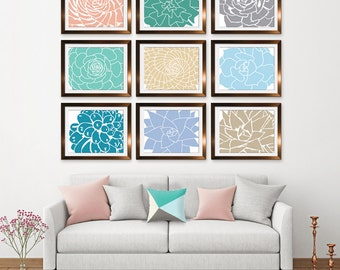 Modern Succulent Botanicals (Series C9) Set of 9 - Art Prints (Featured in Assorted Neutrals) Desert Rose Art Prints