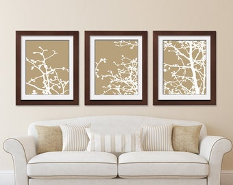 Cherry Blossom Tree Branches (Series C) Set of 3 - Art Prints (Featured in Latte and White) Nature Woodland Inspired