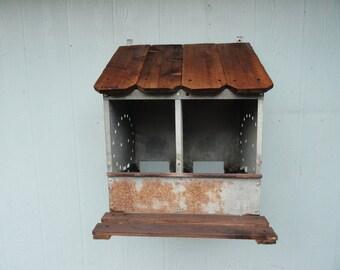 Vintage Galvanized Chicken Coop Nest Bin Wall Decor Repurposed Display Organizer