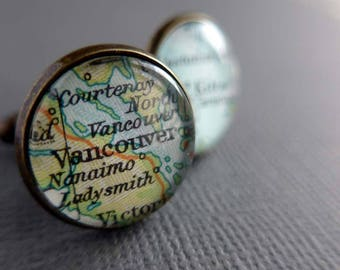 Personalized Husband, Boyfriend Cufflinks, Custom, Personalised Maps