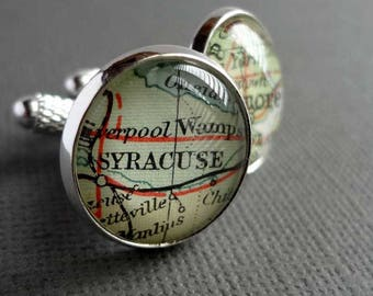 Personalised Silver Cufflinks, Silver Map Cufflinks, Mens Cufflinks, Gift Idea for Men, Anniversary Present, Vintage Maps, Unique Cufflinks