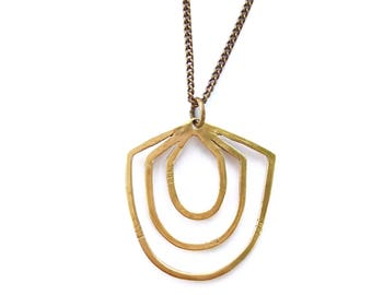 Geometric Bronze Cycles Necklace