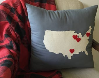 Personalized United States Pillow, Hearts
