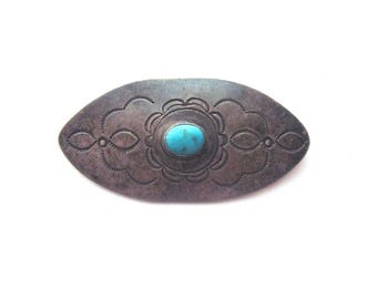 Native American Vintage Navajo Sterling Silver Turquoise Brooch Southwest Jewelry