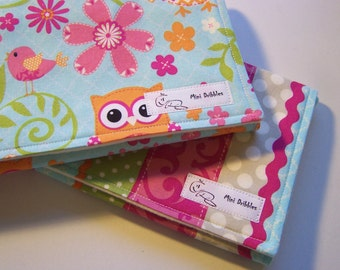 Burp Cloths - Owls - Pink Multi - Set of Two