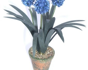 Flower Kit Blue AGAPANTHUS  miniature FLOWER KIT dollhouse garden or conservatory, Dollhouse Miniature plant flower