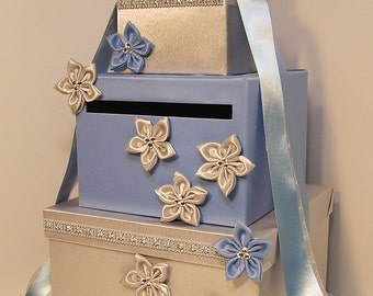 Wedding  Card Box Cornflower blue and Silver Gift Card Box Money Box Holder-Customize your color