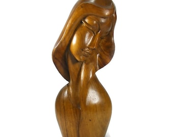 Handcarved Wooden Sculpture Beautiful Woman Figure Monkey Pod Wood Female Bust