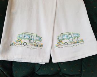 Camper/Travel Trailer Embroidered Flour Sack Dish Towels/Tea Towels