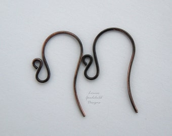 Handmade antique copper fancy swan ear wires x 10 pairs MADE TO ORDER, copper ear wires, antique copper ear wires, solid copper ear wires