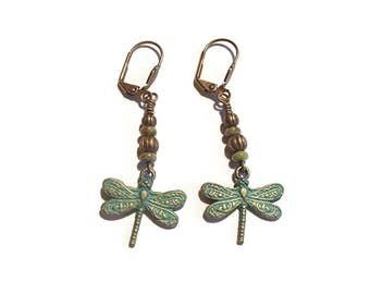 Dragonfly Earrings Verdigris Dragonfly Nature Inspired Dragonfly Earrings