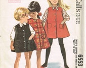 60s Toddler Sleeveless Dress or Jumper and Blouse Pattern McCalls 6553 Size 2 Cute Toddler Girl Dress Vintage 1962 Sewing Pattern
