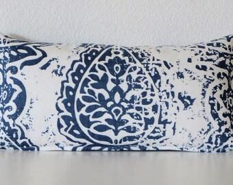 Pillow Cover - Blue - tribal - ikat  8x16 mini lumbar pillow cover