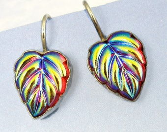 Sterling Silver Earrings iridescent Red Leaf artisan jewelry Art Deco Jewelry 369