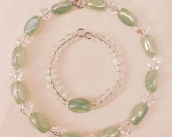 American Girl Sized Choker Necklace with Clear Crystals and Iridescent Green Glass Beads
