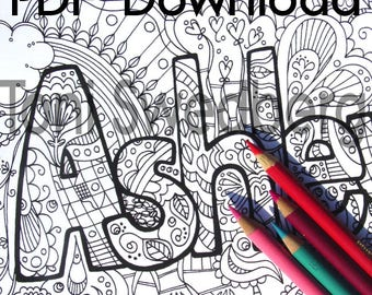 Ashley - Name Art - One Coloring Page - PDF Download - Hand Drawn Image