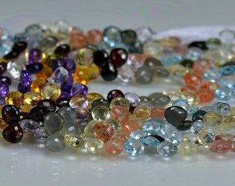 Multi Gemstone Heart Briolettes   AAA Briolettes  Micro Faceted 6.5-7.5mm  Full Strand