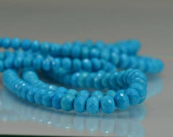 Turquoise  Rondelles Faceted Turquoise Gemstone Beads Rondels AA- AAA