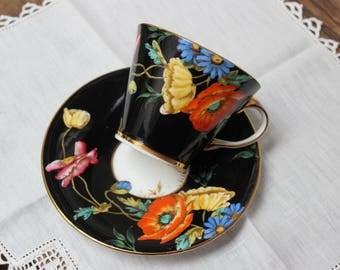 Aynsley Cup Saucer Black Art Deco Flowers Poppy England Tea Cup VINTAGE by Plantdreaming