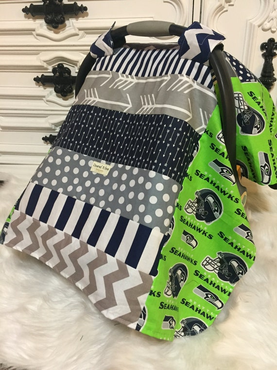 Seahawks car seat cover / OOAK /carseat canopy / seahwaks /nursing cover/ infant car seat canopy / carseat cover