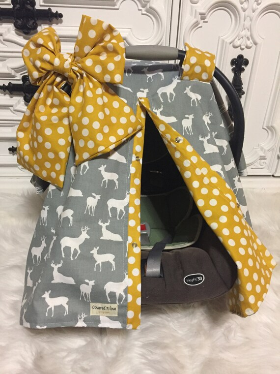 Deer grey and mustard car seat canopy , deer , car seat cover , jumbo bow included