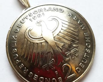 Unique Eagle Pendant, German Coin Pendant 2 Deutsche Mark Eagle Vintage Germany Necklace Germany Jewelry Unique Charm Gift Foreign World