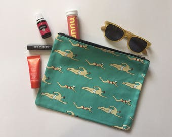FREE SHIPPING  Swim Makeup bag | Gym pouch | Gift for her | Purse | Clutch | zippered bag | Swimming | Pool rat | funny | gym | coach | team