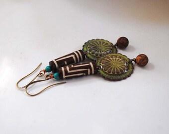 Southwest Earrings, Green Enamel Earrings, Ethnic Earrings, Brown Earrings, Boho Earrings, Artisan Enamel Jewelry, Neutral Earrings