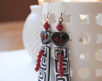 Heart Earrings, Geometric Earrings, Black Red Earrings, Lampwork Glass Bead Earrings, Polymer Clay Earrings,