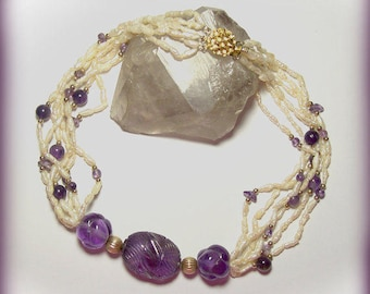 Carved Amethyst Necklace / Vintage 6 Strand Hand Carved Amethyst and Freshwater Pearls Necklace