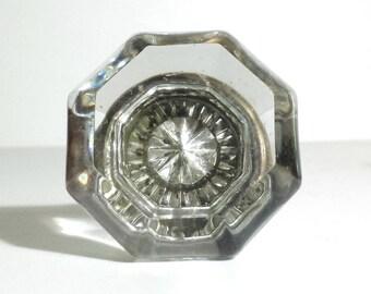 Vintage Glass Doorknob with Silver Starburst / 1960s Brass and Glass Doorknob