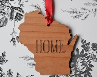 HOME Engraved Wisconsin Ornament