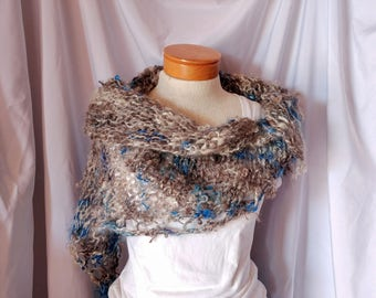Grey hand knitted hand spun Shawl Blue White curly locks wool wrap Hand made primitive scarf Statement shawl Cos Play rustic woodland