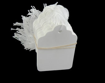 Size 7 white scallop top string tags/ merchandise price tags, 100 pcs