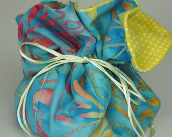 Travel Jewelry Bag Organizer with Drawstrings in Blue, Pink and Yellow Batik Print