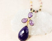 30% OFF Gold Purple Onyx Teardrop Necklace – Rainbow Tourmaline Chain - Layering Necklace