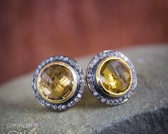 CHRISTMAS SALE 50% OFF Pave Diamond Earrings - Champagne Citrine Gemstone Studs - November Birthstone