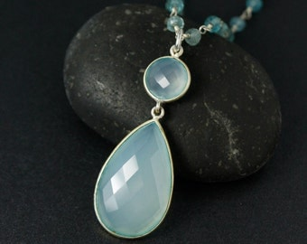 Aqua Blue Chalcedony Necklace on Blue Aquamarine Chain - Spring Jewelry - Something Blue