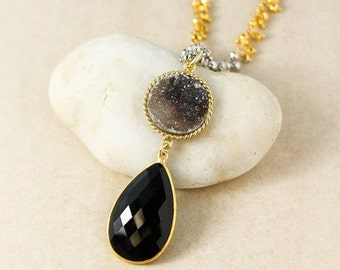 ON SALE Gold Black Druzy & Black Onyx Teardrop Necklace - Long Necklace - Metallic Pyrite Chain