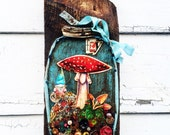 A Gnome, a Toadstool, and Orange Mushrooms Recycled Mixed Media Art