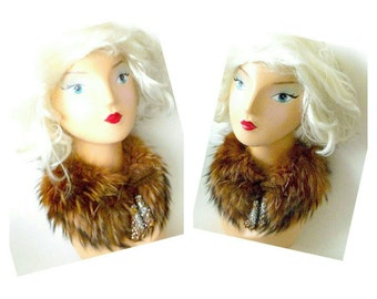 Fox Fur - Collar - Sequins - Beads - Tie Front - Bridal Glamour - Recycled - Eco Friendly - Warm - Soft - Cinnamon - Blonde - Original