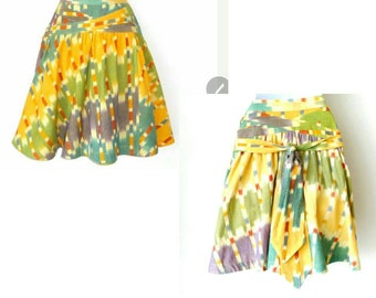 Skirt - Batik - Mini - Colorful - Cotton - Cruise - Full Skirt - Tie Back - Size 2 - Yellow - Green - Blue - Orange - Lavender - Resort