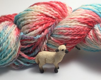 """Hand-Spun 100% Wool and Merino Yarn """"Summer Lovin"""" Hand-Washed, Carded, Spun and Painted, 2 ply, Knit, Crochet, Weave, Aran&Worsted 198 yds"""