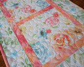 Quilted Floral Table Runner in Watercolor Pastel Shades of Pink Blue Yellow and Green, Quilted Flower Table Topper, Quilted Tablecloth