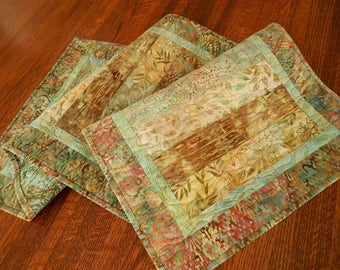 Rustic Modern Quilted Table Runner with Aqua Coral Gold and Brown Batiks, Coffee Table Runner, Dining Table Decor, Dresser Runner